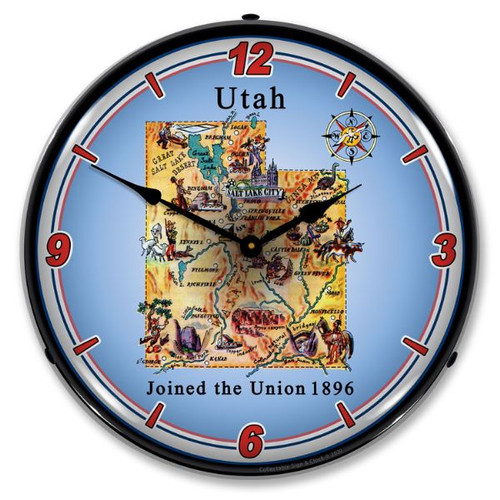 State of Utah LED Lighted Wall Clock 14 x 14 Inches