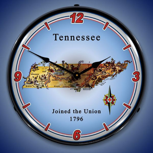 State of Tennessee LED Lighted Wall Clock 14 x 14 Inches