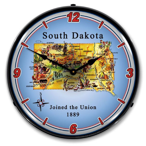 State of South Dakota LED Lighted Wall Clock 14 x 14 Inches
