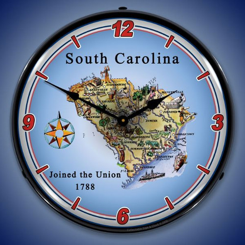 State of South Carolina LED Lighted Wall Clock 14 x 14 Inches