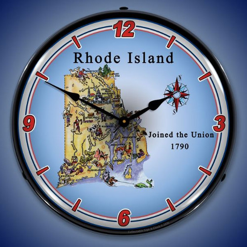State of Rhode Island LED Lighted Wall Clock 14 x 14 Inches