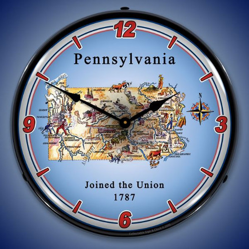 State of Pennsylvania LED Lighted Wall Clock 14 x 14 Inches