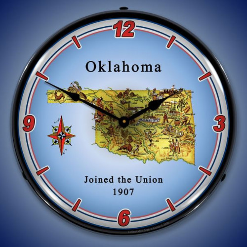 State of Oklahoma LED Lighted Wall Clock 14 x 14 Inches