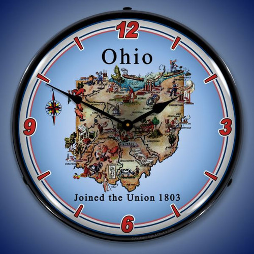 State of Ohio LED Lighted Wall Clock 14 x 14 Inches