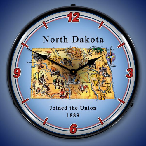 State of North Dakota LED Lighted Wall Clock 14 x 14 Inches