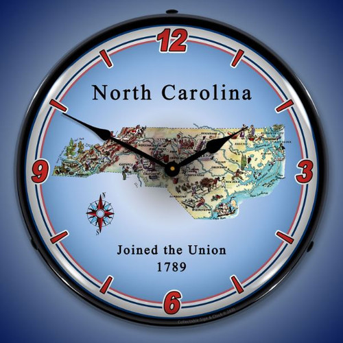 State of North Carolina LED Lighted Wall Clock 14 x 14 Inches