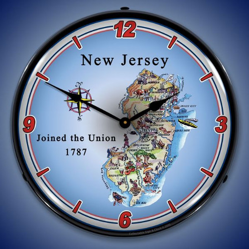 State of New Jersey LED Lighted Wall Clock 14 x 14 Inches