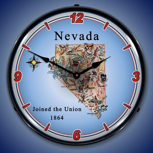 State of Nevada LED Lighted Wall Clock 14 x 14 Inches