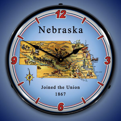 State of Nebraska LED Lighted Wall Clock 14 x 14 Inches