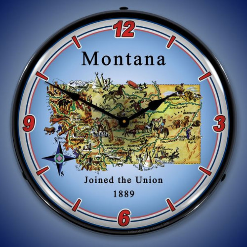 State of Montana LED Lighted Wall Clock 14 x 14 Inches