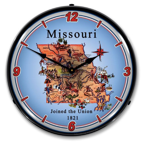State of Missouri LED Lighted Wall Clock 14 x 14 Inches