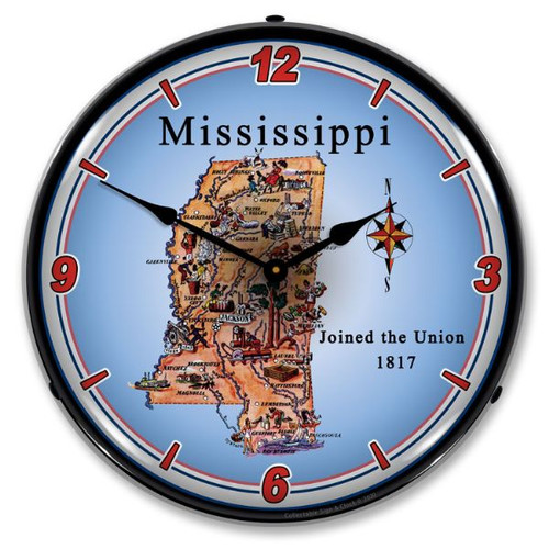 State of Mississippi LED Lighted Wall Clock 14 x 14 Inches
