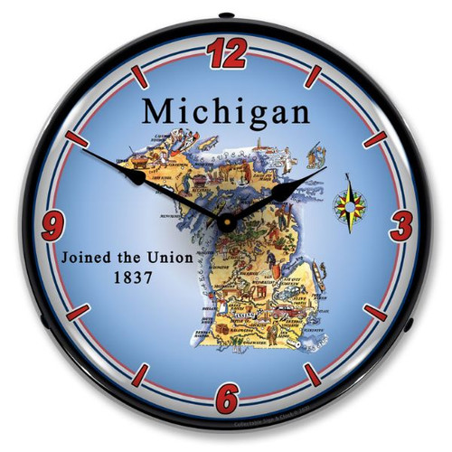 State of Michigan LED Lighted Wall Clock 14 x 14 Inches