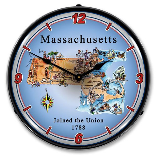 State of Massachusetts LED Lighted Wall Clock 14 x 14 Inches