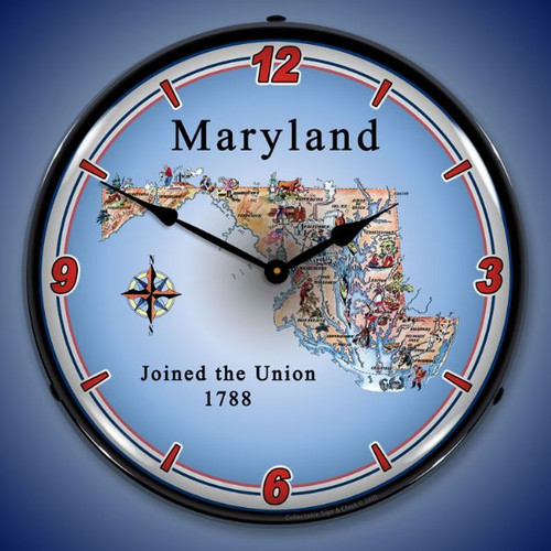 State of Maryland  LED Lighted Wall Clock 14 x 14 Inches