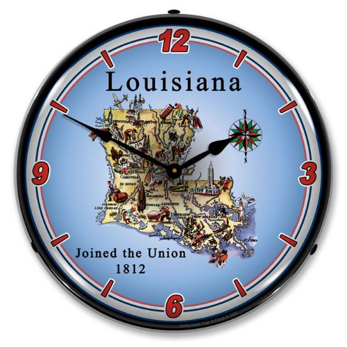 State of Louisiana LED Lighted Wall Clock 14 x 14 Inches