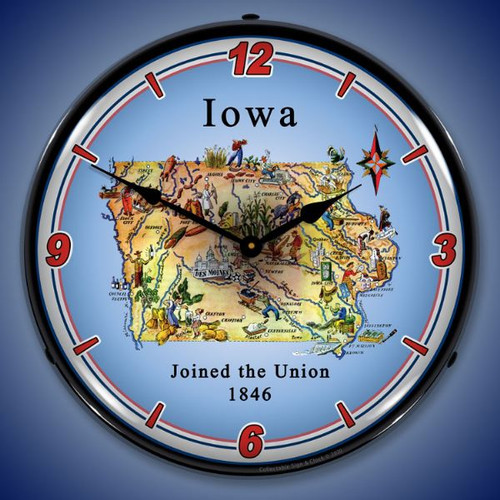 State of Iowa LED Lighted Wall Clock 14 x 14 Inches