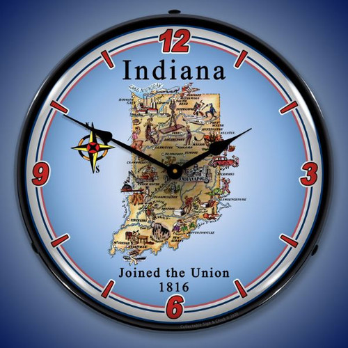 State of Indiana LED Lighted Wall Clock 14 x 14 Inches