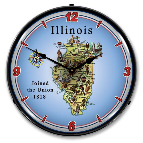 State of Illinois LED Lighted Wall Clock 14 x 14 Inches