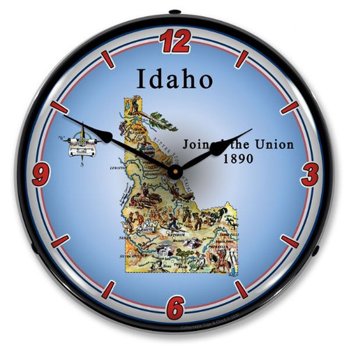 State of Idaho LED Lighted Wall Clock 14 x 14 Inches