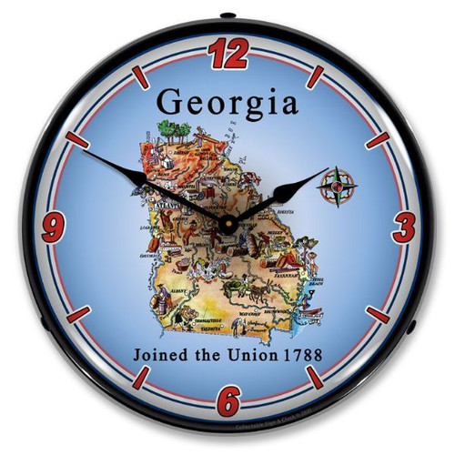 State of Georgia LED Lighted Wall Clock 14 x 14 Inches