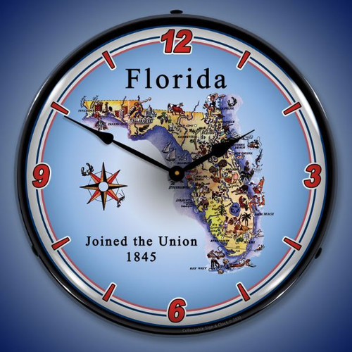 State of Florida LED Lighted Wall Clock 14 x 14 Inches