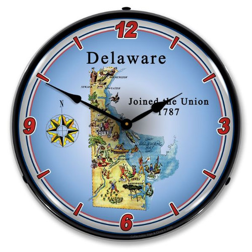 State of Delaware LED Lighted Wall Clock 14 x 14 Inches
