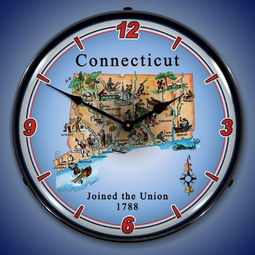 State of Connecticut LED Lighted Wall Clock 14 x 14 Inches