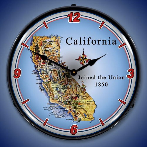State of California LED Lighted Wall Clock 14 x 14 Inches