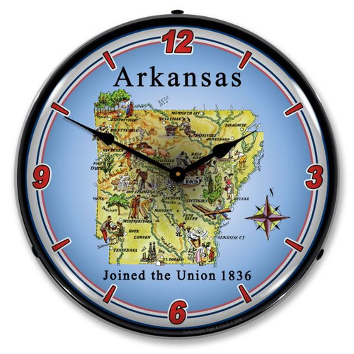 State of Arkansas LED Lighted Wall Clock 14 x 14 Inches