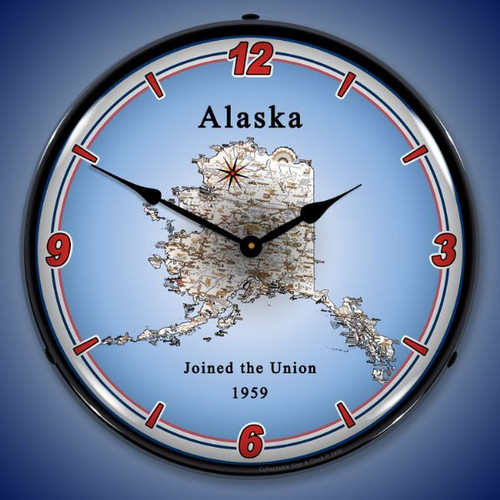 State of Alaska LED Lighted Wall Clock 14 x 14 Inches