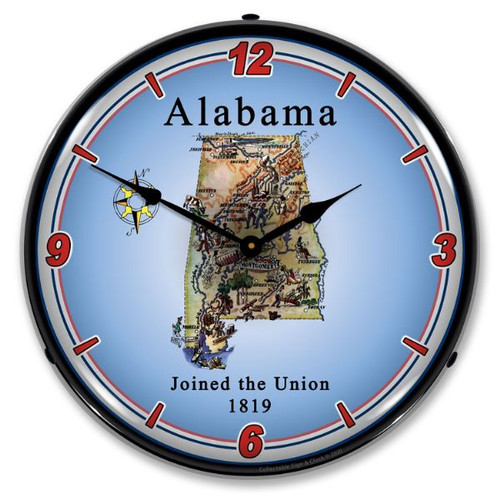 State of Alabama LED Lighted Wall Clock 14 x 14 Inches