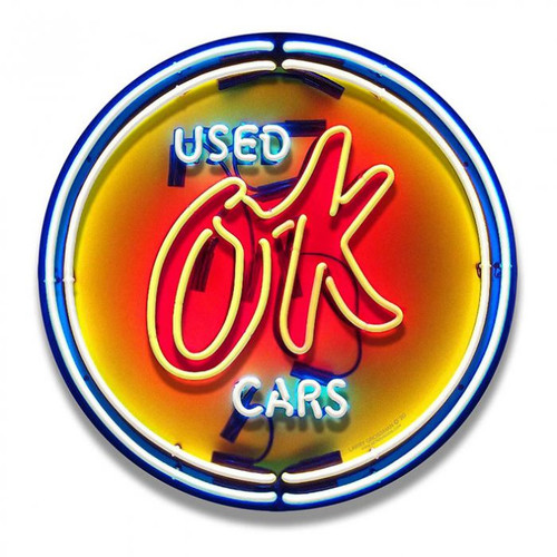 OK Used Cars Neon Style Metal Sign 16 x 16 Inches