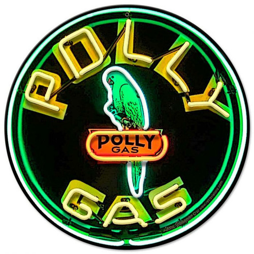 Polly Gas Neon Style Metal Sign 14 x 14 Inches