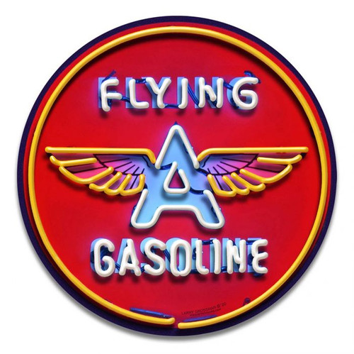 Flying A Sign Neon Style Metal Sign 14 x 14 inches