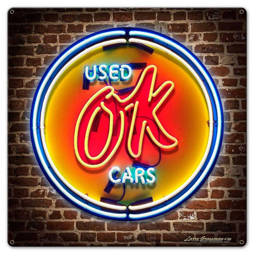OK Used Cars Neon Style Metal Sign 18 x 18 Inches