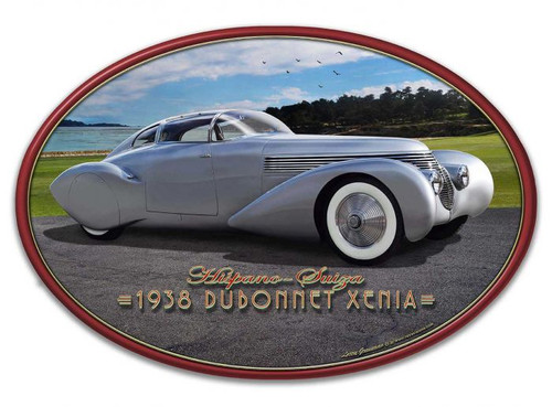 1938 Dubonnet Xenia Frame Oval Metal Sign 24 x 16 Inches