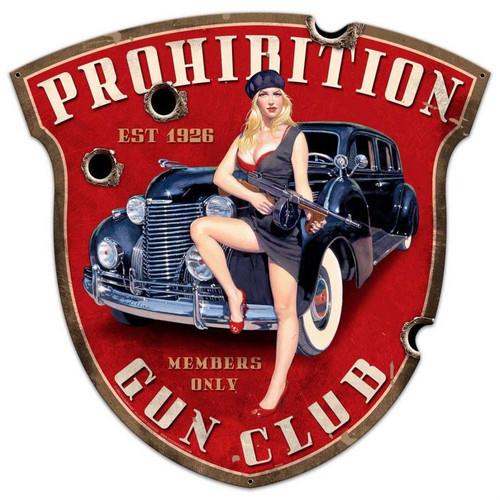 Prohibition Gun Club Shield Metal Sign 28 x 28 Inches
