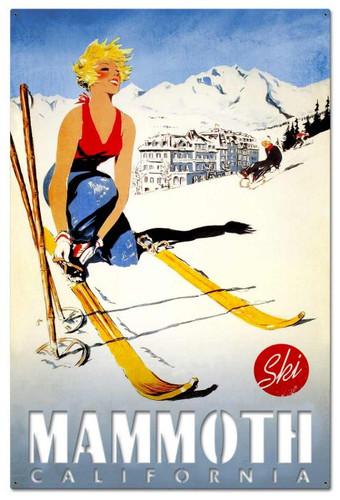Ski Mammoth California Cutout Metal Sign 36 x 24 Inches