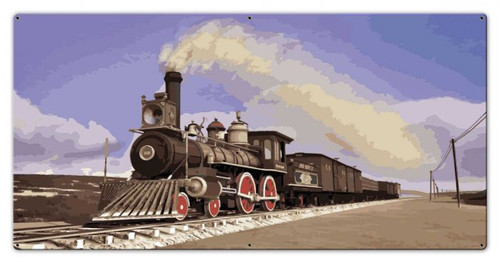 Steam Locomotive Metal Sign 36 x 18 Inches