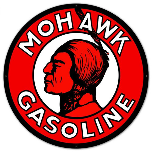 Mohawk Gasoline XL Round Metal Sign 42 x 42 Inches