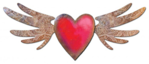 3-D Flying Heart 3D layered Metal Sign 29 x 12 Inches