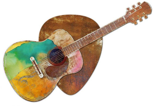Guitar and Pick 3-D Layered Metal Sign 36 x 25 Inches