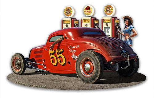 1933 Ol' Skool Coupe w Pump Girl Metal Sign 18 x 11 Inches