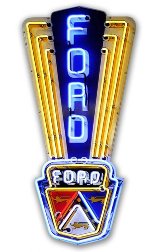 Ford 'Neon Styled' Metal Sign 11 x 23 Inches