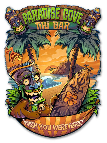 Tiki Man Hammock Metal Sign 18 x 12 Inches