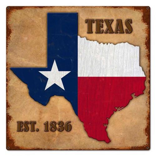 Texas Est. 1836 Metal Sign 24 x 24 Inches