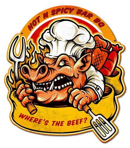 Hot N Spicy BBQ Metal Sign 21 x 24 Inches