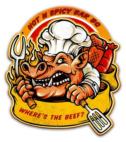 Hot N Spicy BBQ Metal Sign 14 x 16 Inches