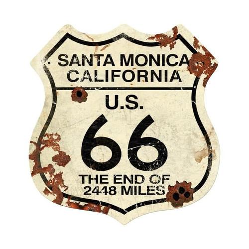 Santa Monica Rt 66 Metal Sign 15 x 16 Inches